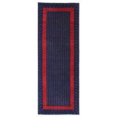 Vintage Rugs Navy Blue Handwoven Carpet Runner, Oriental Wool Runner