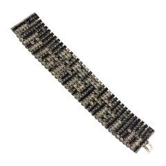 Vintage Runway KARL LAGERFELD Spelled Rhinestones Mesh Bracelet