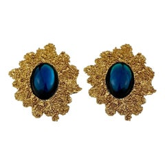 Vintage Runway YVES SAINT LAURENT Ysl Blue Cabochon Textured Bubble Earrings