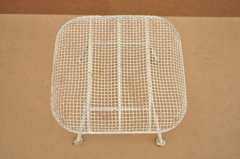 American Vintage Russell Woodard Sculptura Metal Mesh Wrought Iron Ottoman Footstool For Sale