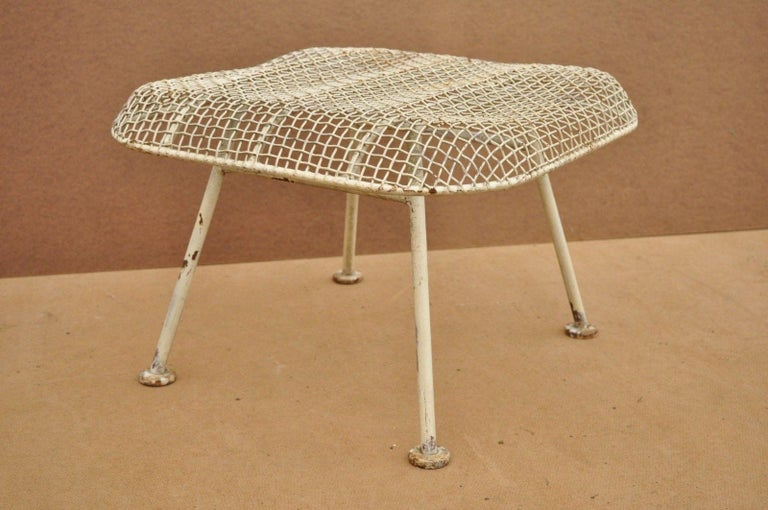 Vintage Russell Woodard Sculptura Metal Mesh Wrought Iron Ottoman Footstool For Sale 2