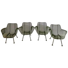 Vintage Russell Woodard Sculptura Wire Mesh Armchairs, Forest Green