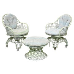 Vintage Russell Woodard Woven Spun Fiberglass Swivel Rolling Club Lounge Chairs