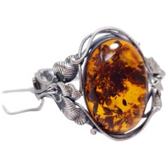 Vintage Russian Baltic Amber Cabochon Bracelet, Floral Sterling Silver Cuff