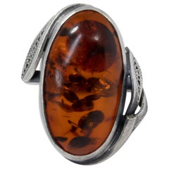 Vintage Russian Baltic Amber Cabochon Ring, Floral Silver Bezel, Open Back, Sz 7