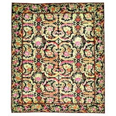 Vintage Russian Bessarabian Floral Handwoven Wool Rug