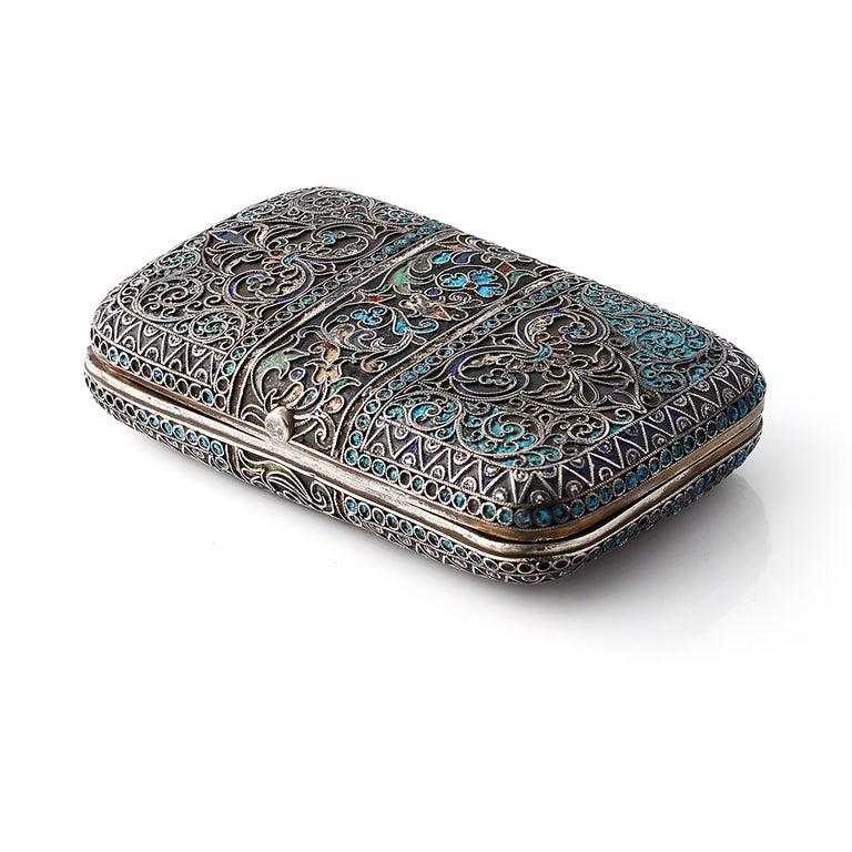 Russian Revival Vintage Russian Cloisonné Enamel Silver Box For Sale