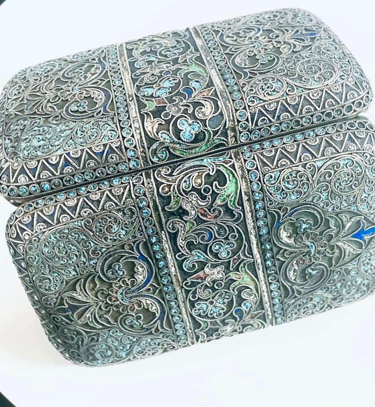 Vintage Russian silver cloisonné enamel  Length: 4.5 inch Width: 2.5 inch Height: 1 inch