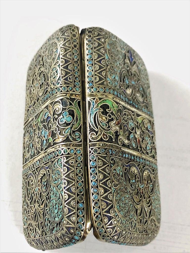 Women's or Men's Vintage Russian Cloisonné Enamel Silver Box For Sale