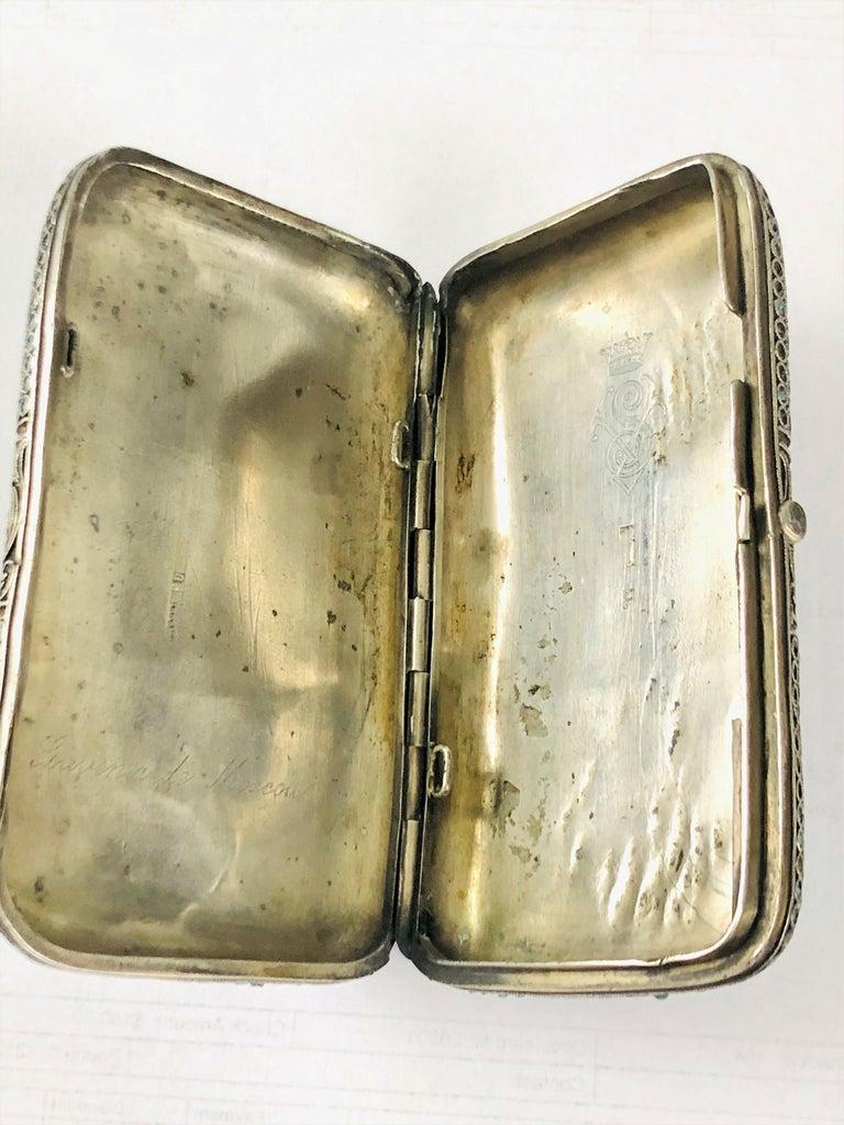 Vintage Russian Cloisonné Enamel Silver Box For Sale 2