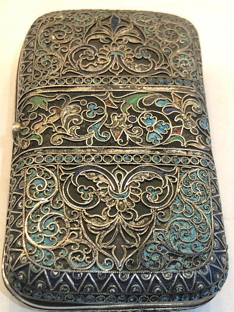Vintage Russian Cloisonné Enamel Silver Box For Sale 4