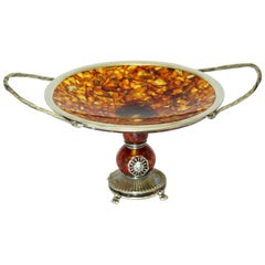Vintage Russian Silver and Amber Tazza Dish, circa 1990s