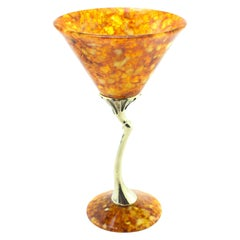 Vintage Russian Silver and Amber Wine Cup / Goblet, circa 1990s