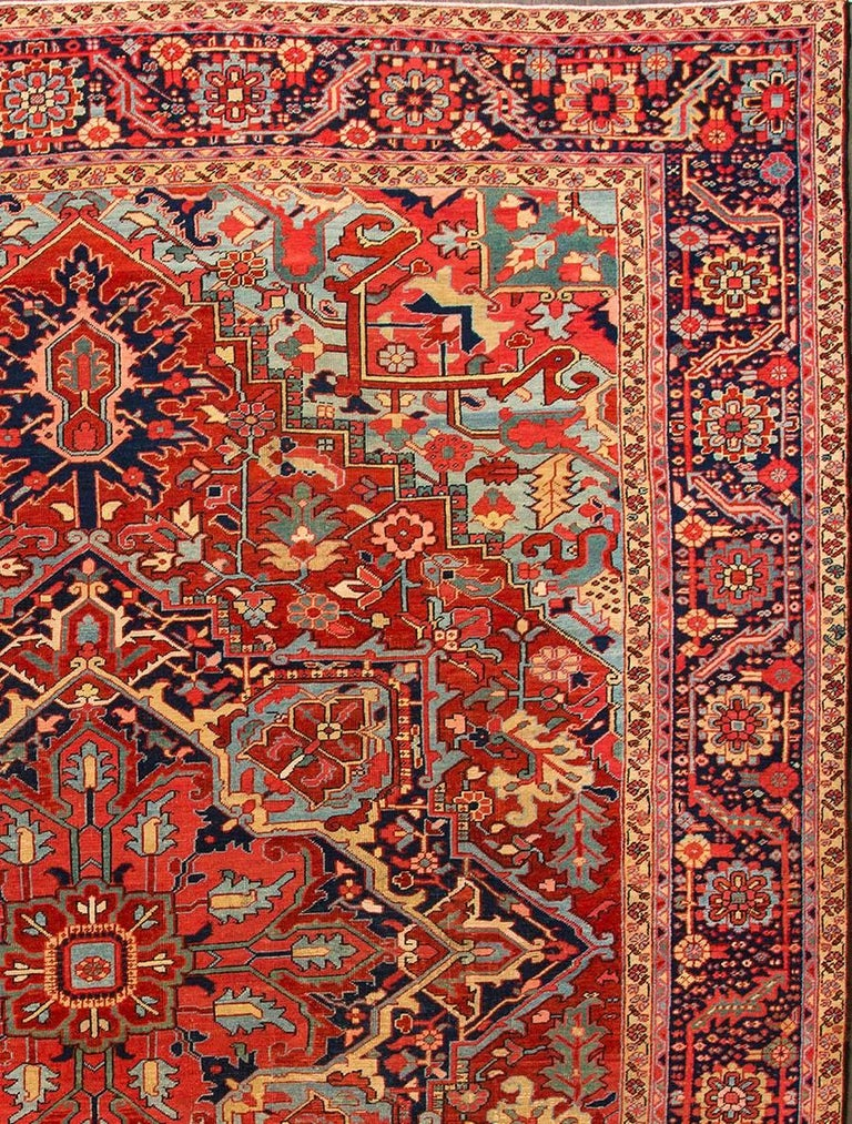 Heriz Serapi Vintage Rust and Blue Persian Heriz Carpet For Sale