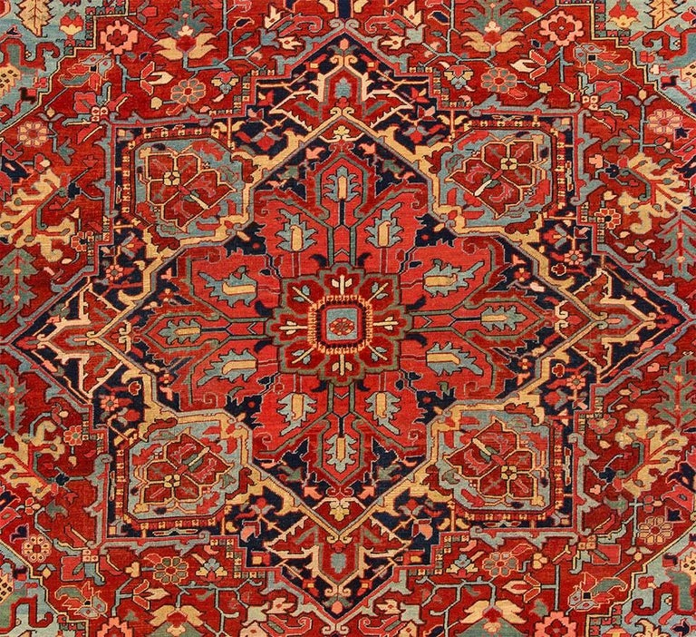 Hand-Knotted Vintage Rust and Blue Persian Heriz Carpet For Sale
