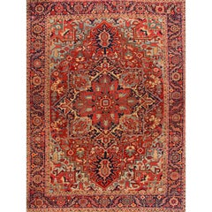Vintage Rust and Blue Persian Heriz Carpet