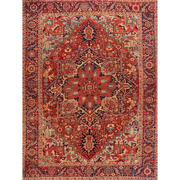 Vintage Rust and Blue Persian Heriz Carpet For Sale