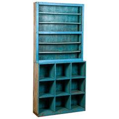 Vintage Rustic Blue Shelving Unit, 20th Century