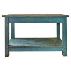Vintage Rustic Console Table in Blue Painted Wood, France Late 19th-Century