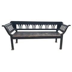 Rustic European Black Painted Bench