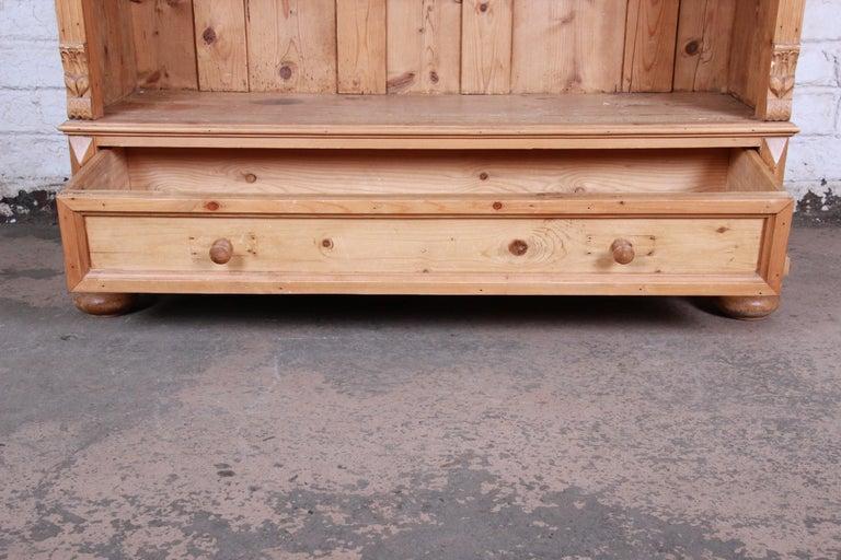 Primitive Vintage Rustic Solid Carved Pine Bookcase For Sale