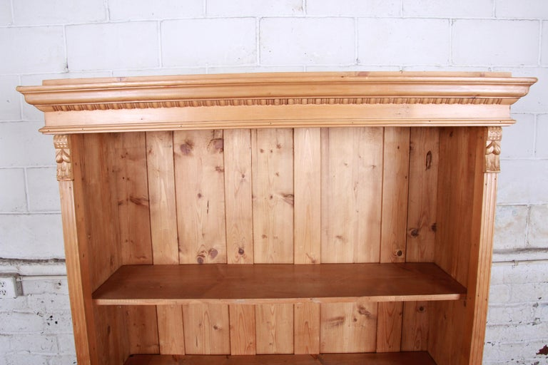 Vintage Rustic Solid Carved Pine Bookcase In Good Condition For Sale In South Bend, IN