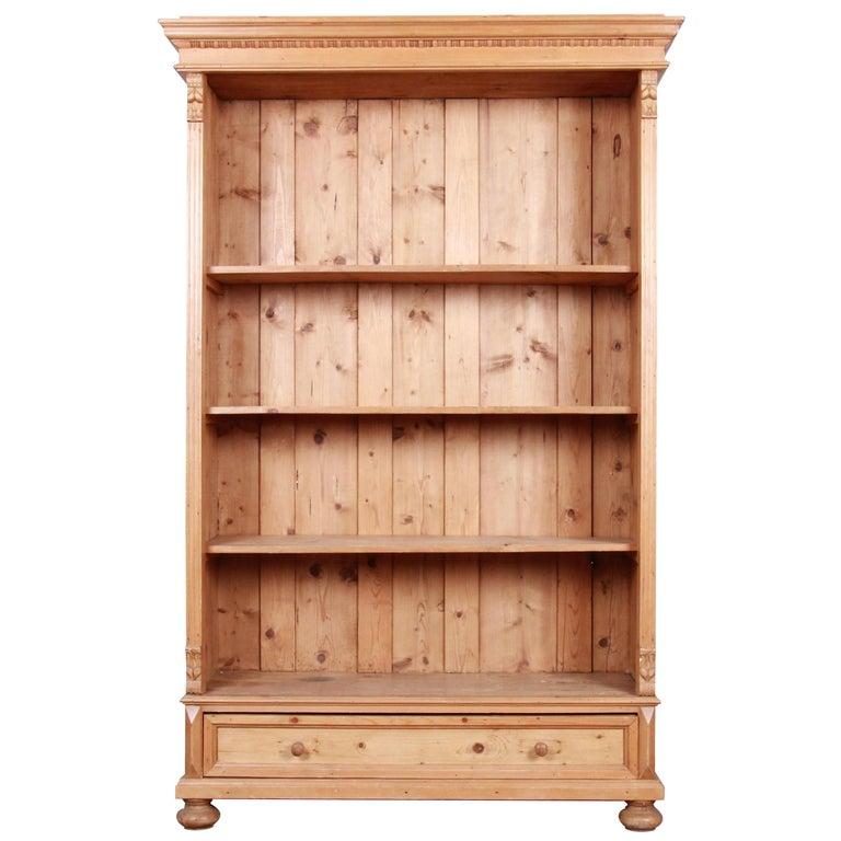 Vintage Rustic Solid Carved Pine Bookcase For Sale