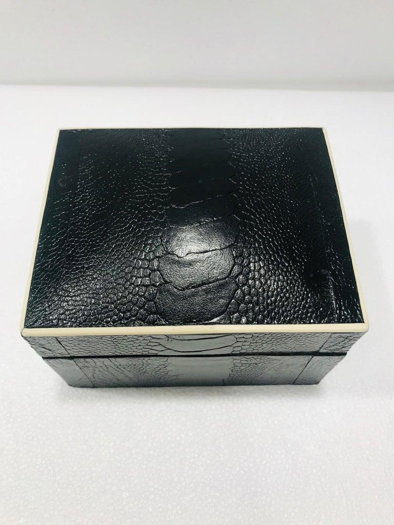 Organic Modern Vintage R&Y Augousti Decorative Box in Black Ostrich Leather and Bone circa 2000