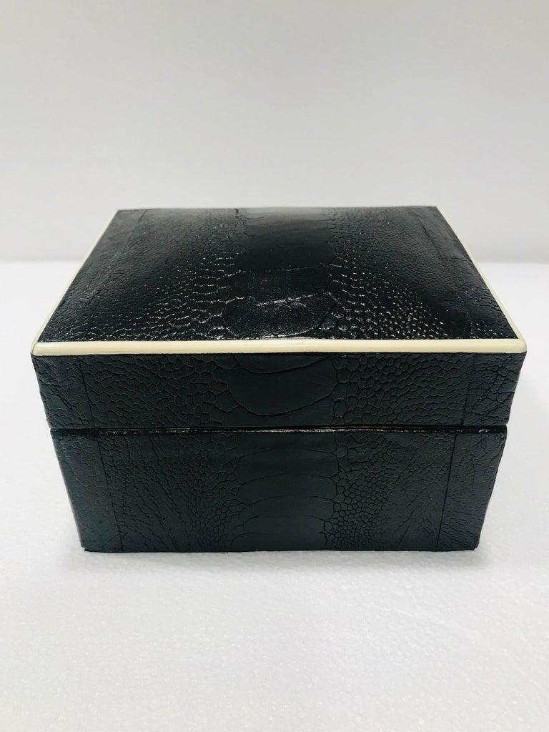 French Vintage R&Y Augousti Decorative Box in Black Ostrich Leather and Bone circa 2000