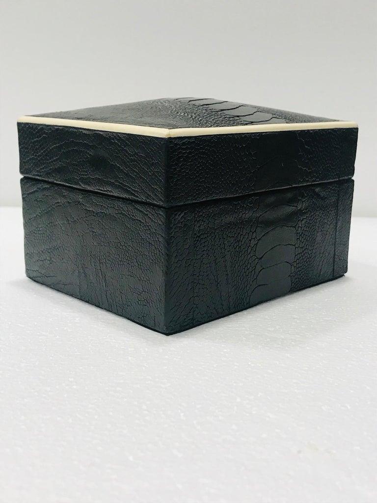 Inlay Vintage R&Y Augousti Decorative Box in Black Ostrich Leather and Bone circa 2000