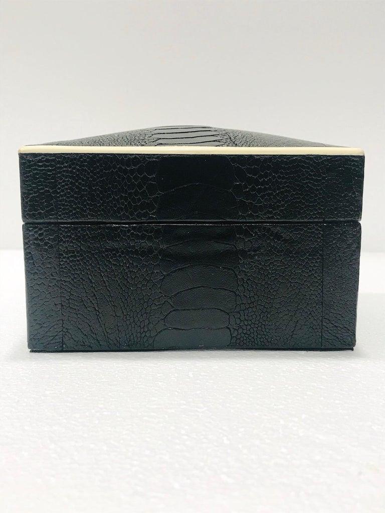 Contemporary Vintage R&Y Augousti Decorative Box in Black Ostrich Leather and Bone circa 2000