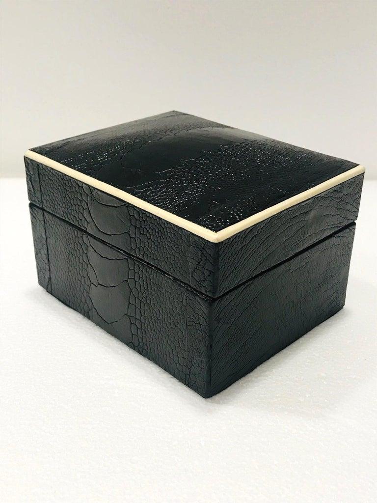 Vintage R&Y Augousti Decorative Box in Black Ostrich Leather and Bone circa 2000 1