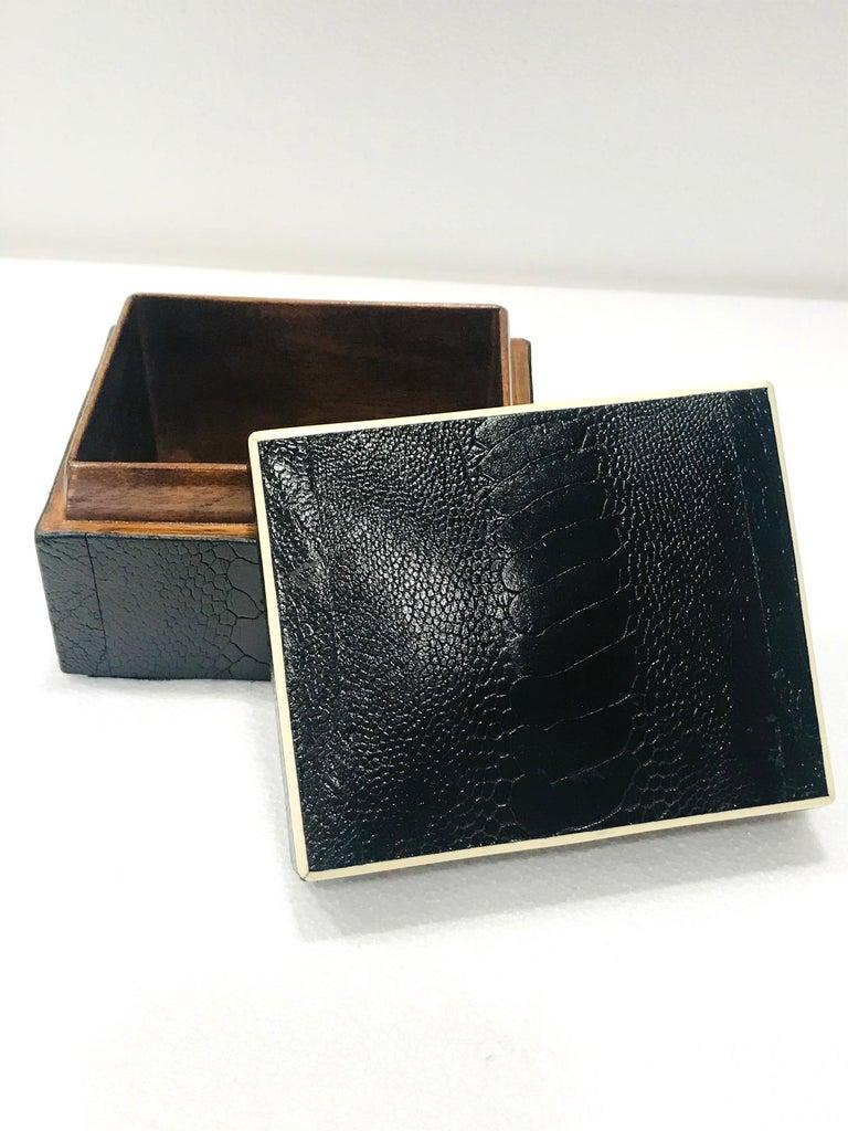 Vintage R&Y Augousti Decorative Box in Black Ostrich Leather and Bone circa 2000 2