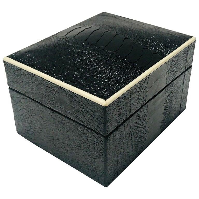 Vintage R&Y Augousti Decorative Box in Black Ostrich Leather and Bone circa 2000