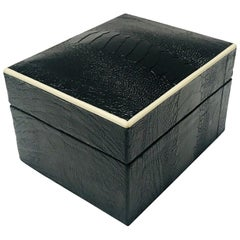 Vintage R&Y Augousti Decorative Box in Black Ostrich Leather and Bone circa 2000