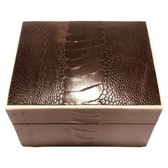 Vintage R&Y Augousti Decorative Box in Brown Ostrich Leather and Bone, c. 2000