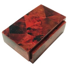 Vintage R&Y Augousti Decorative Box in Mosaic Red and Black Pen-Shell, c. 2000