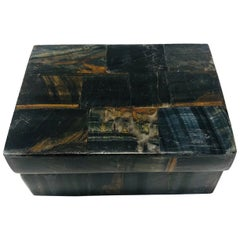 Vintage R&Y Augousti Decorative Box in Tessellated Tiger Eye Stone, circa 2005