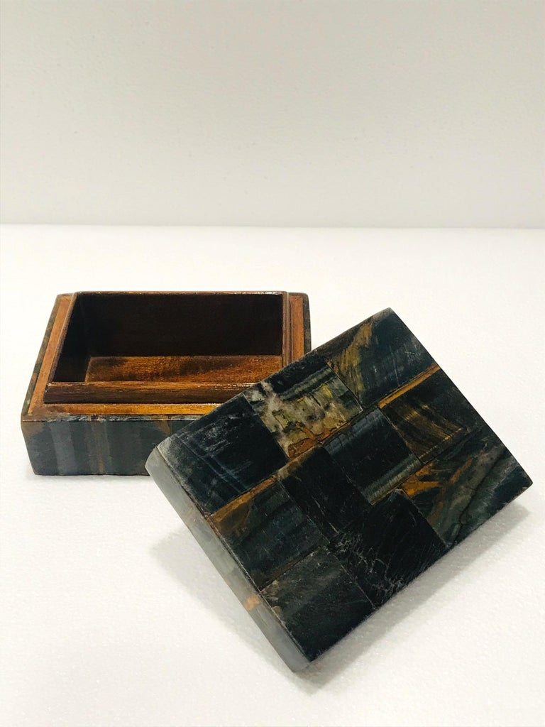 Vintage R&Y Augousti Decorative Box Tessellated Tiger Eye Stone, circa 2005 3