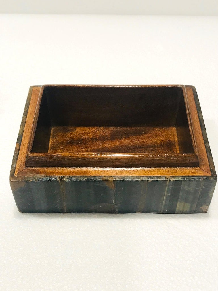 Vintage R&Y Augousti Decorative Box Tessellated Tiger Eye Stone, circa 2005 4