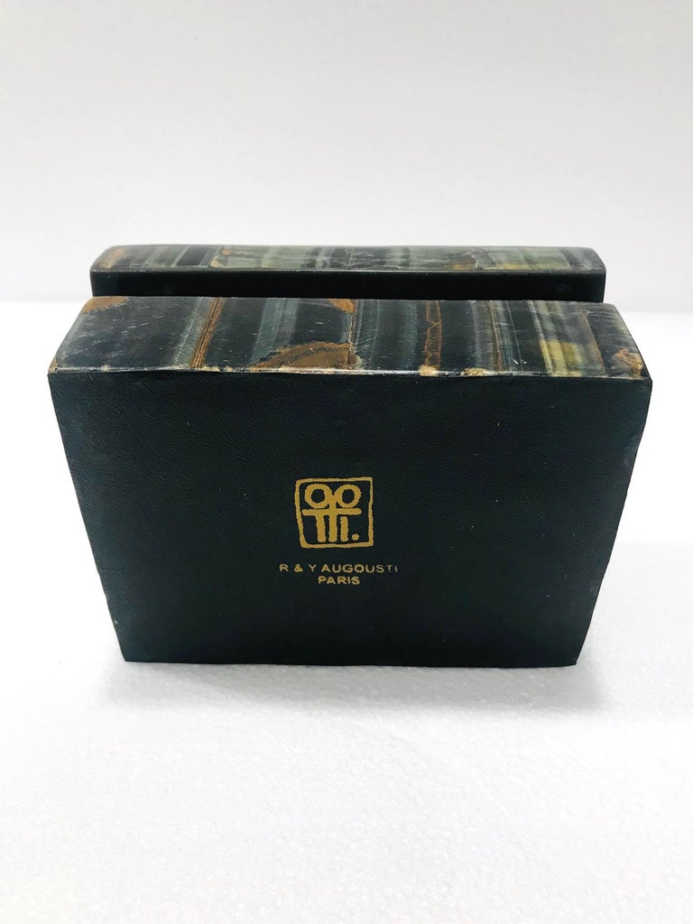 Vintage R&Y Augousti Decorative Box Tessellated Tiger Eye Stone, circa 2005 5