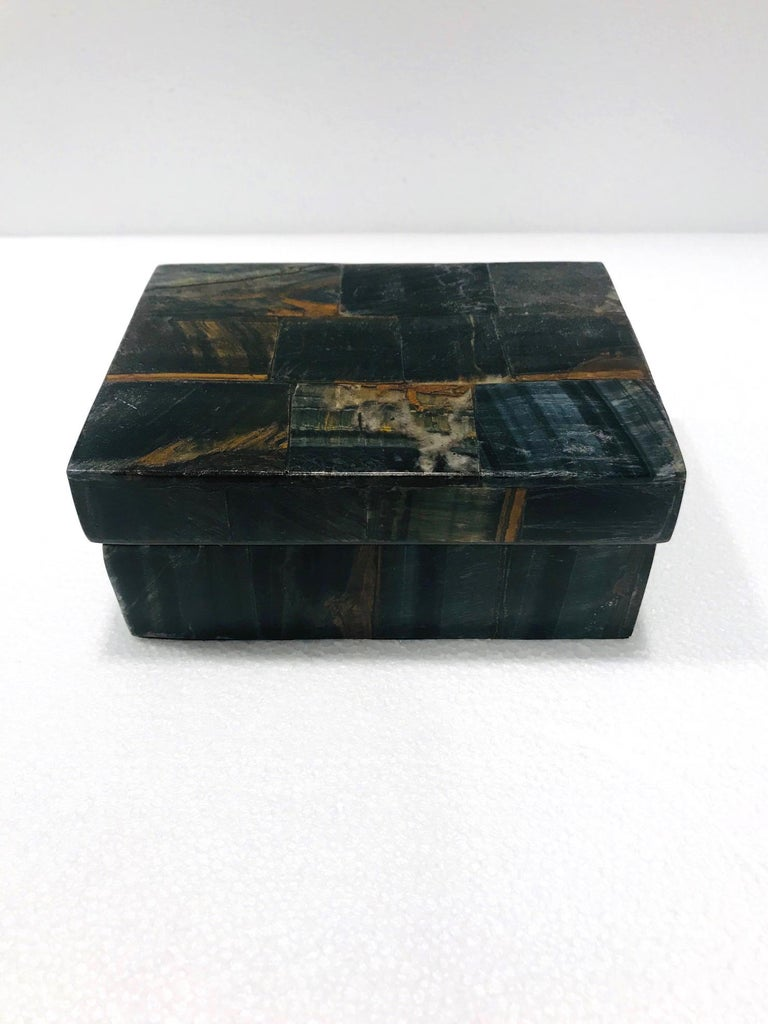 Organic Modern Vintage R&Y Augousti Decorative Box Tessellated Tiger Eye Stone, circa 2005