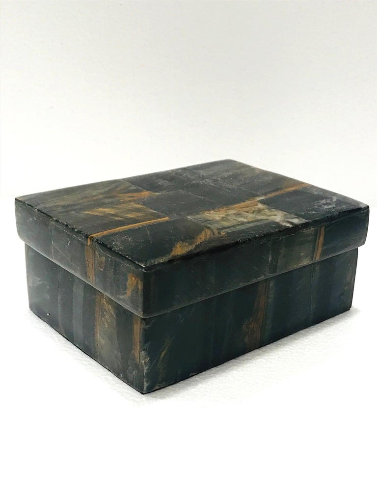 French Vintage R&Y Augousti Decorative Box Tessellated Tiger Eye Stone, circa 2005