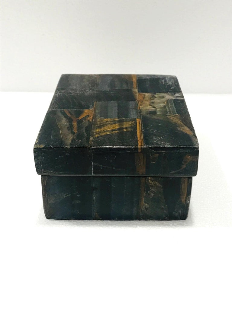 Hand-Crafted Vintage R&Y Augousti Decorative Box Tessellated Tiger Eye Stone, circa 2005