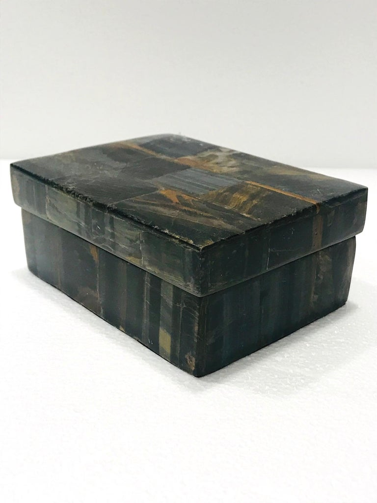 Vintage R&Y Augousti Decorative Box Tessellated Tiger Eye Stone, circa 2005 In Excellent Condition In Miami, FL