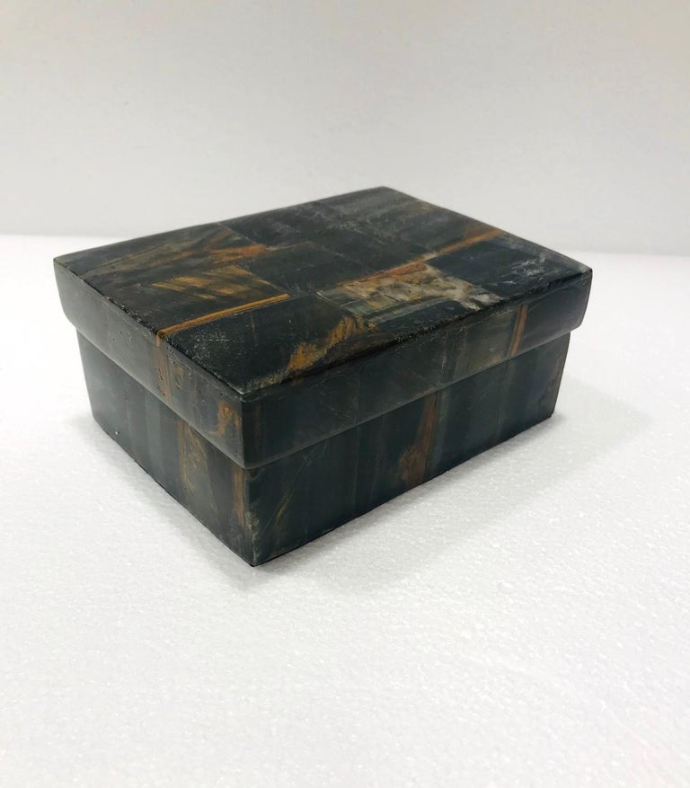 Contemporary Vintage R&Y Augousti Decorative Box Tessellated Tiger Eye Stone, circa 2005