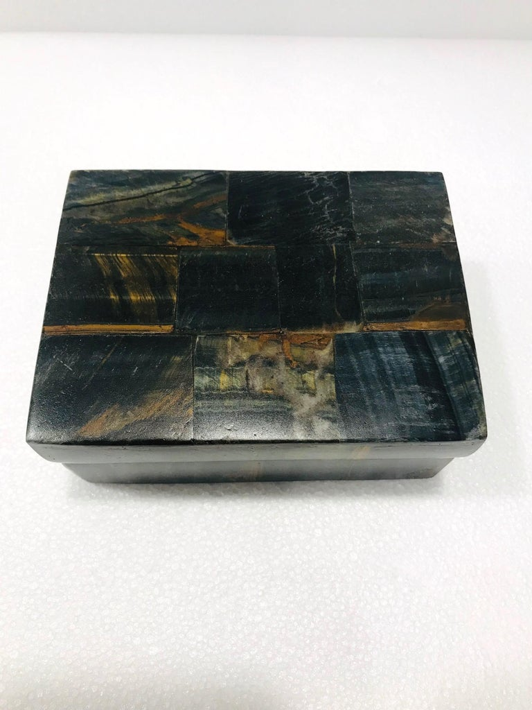 Vintage R&Y Augousti Decorative Box Tessellated Tiger Eye Stone, circa 2005 1