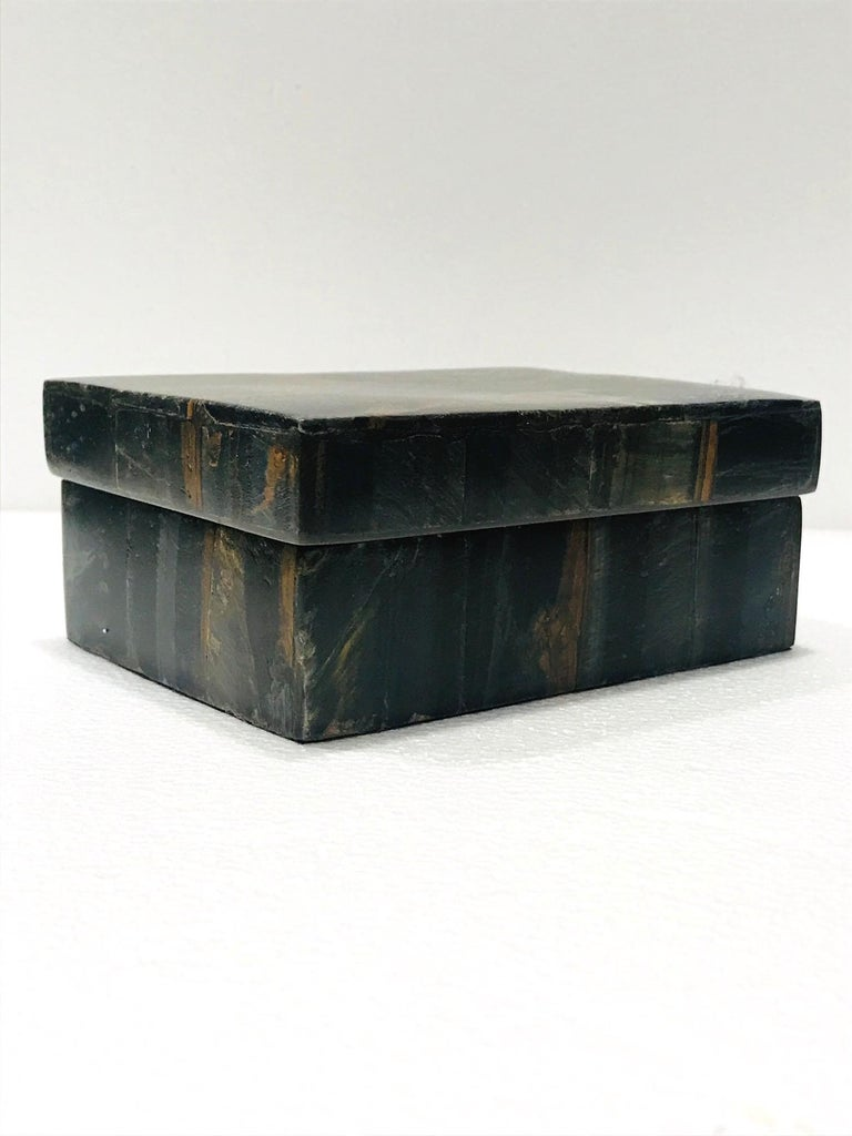 Vintage R&Y Augousti Decorative Box Tessellated Tiger Eye Stone, circa 2005 2