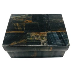 Vintage R&Y Augousti Decorative Box Tessellated Tiger Eye Stone, circa 2005