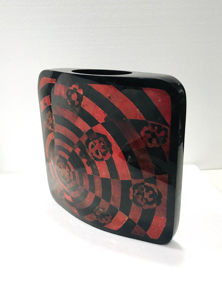 Inlay Vintage R&Y Augousti Decorative Vase in Mosaic Red & Black Pen-Shell, circa 2000 For Sale